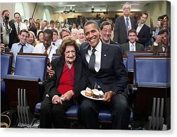 President Barack Obama Presents Canvas Print by Everett