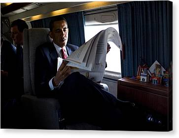President Barack Obama Reading Canvas Print by Everett