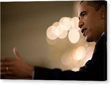 President Barack Obama Speaks Canvas Print by Everett