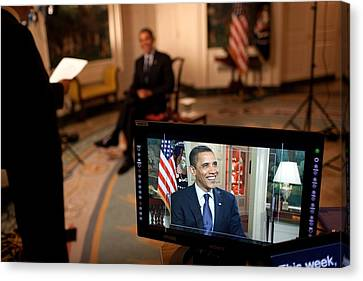 President Barack Obama Tapes The Weekly Canvas Print by Everett