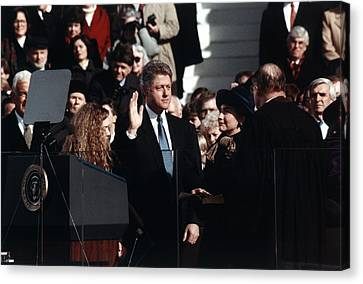 President Bill Clinton Takes The Oath Canvas Print by Everett