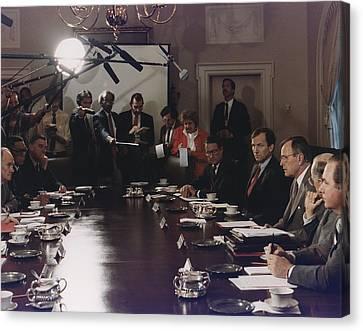 President Bush Participates In A Full Canvas Print by Everett