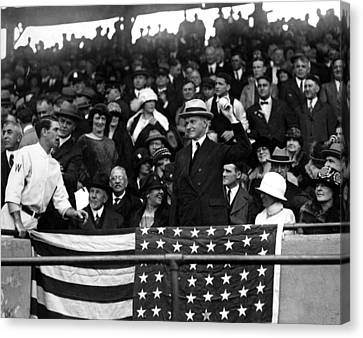 President Calvin Coolidge Pitches Canvas Print