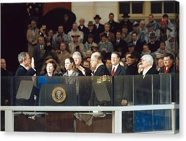 President-elect George W. Bush Is Sworn Canvas Print by Everett