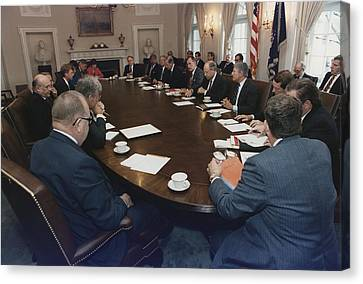 President George Bush Conducts A Full Canvas Print by Everett