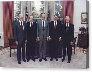 President George H.w. Bush With Former Canvas Print by Everett