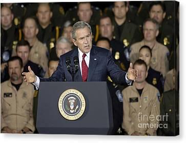 President George W. Bush Speaks Canvas Print by Stocktrek Images