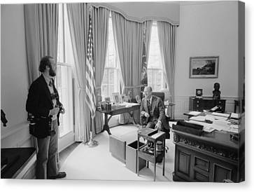President Gerald Ford Chatting Canvas Print by Everett