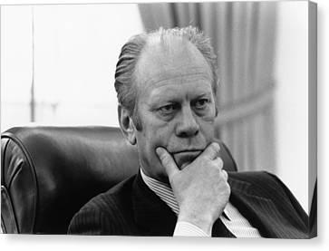 President Gerald Ford Listening Canvas Print by Everett