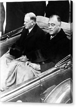 Americans Elect Canvas Print - President Hoover And President Elect Franklin Delano Roosevelt - C 1933 by International  Images