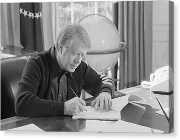 President Jimmy Carter Working Canvas Print by Everett