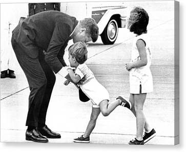 President John Kennedy Is Greeted Canvas Print by Everett