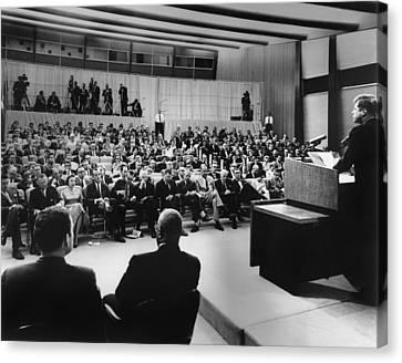 President John Kennedy Speaks Canvas Print by Everett