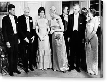President John Kennedy Visiting Canada Canvas Print