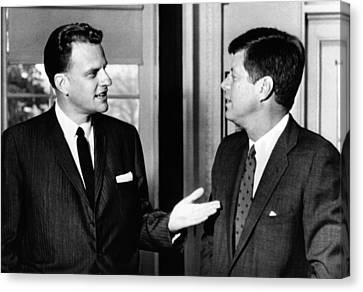 President John Kennedy With Baptist Canvas Print by Everett