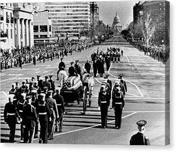 President Kennedy�s Flag-draped Coffin Canvas Print by Everett