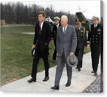President Kennedy And Former President Canvas Print by Everett