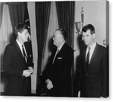 President Kennedy, J. Edgar Hoover Canvas Print by Everett