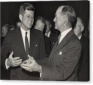 President Kennedy Talking With Arkansas Canvas Print