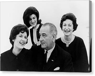 President Lyndon Johnson Family Canvas Print by Everett