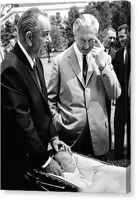 President Lyndon Johnson Gives German Canvas Print by Everett