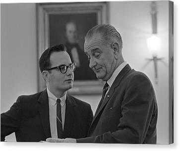 President Lyndon Johnson, Talking Canvas Print