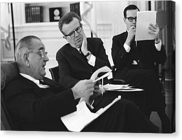 President Lyndon Johnson With Political Canvas Print