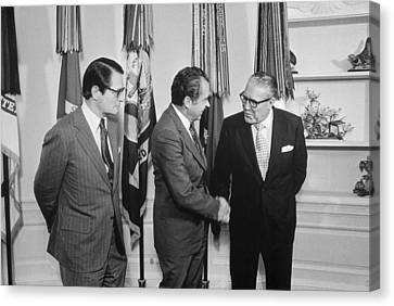 President Nixon With Attorney-general Canvas Print by Everett