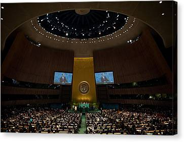 President Obama Addresses The Un Canvas Print