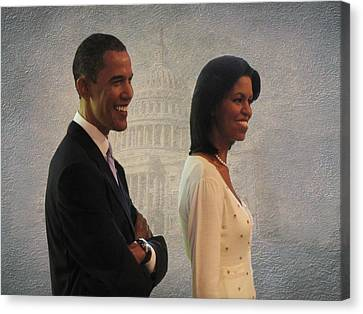 President Obama And First Lady Canvas Print by David Dehner