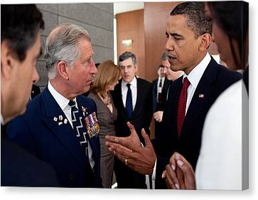 President Obama And Prince Charles Talk Canvas Print by Everett