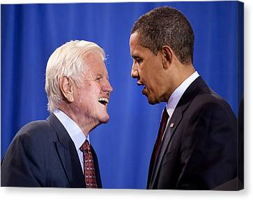 President Obama And Ted Kennedy Canvas Print