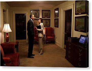 President Obama And Valerie Jarrett Canvas Print by Everett