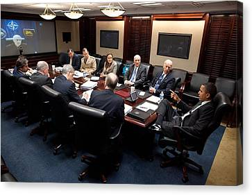 President Obama And Vp Joe Biden Hold Canvas Print
