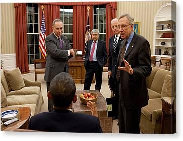President Obama And Vp Joe Biden Meet Canvas Print by Everett