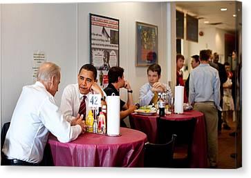 President Obama And Vp Joe Biden Wait Canvas Print by Everett