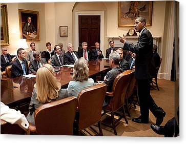 President Obama At A Bipartisan Meeting Canvas Print by Everett