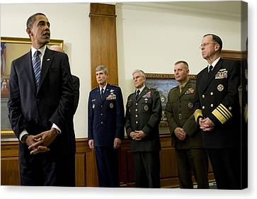 President Obama At The Pentagon Canvas Print by Everett