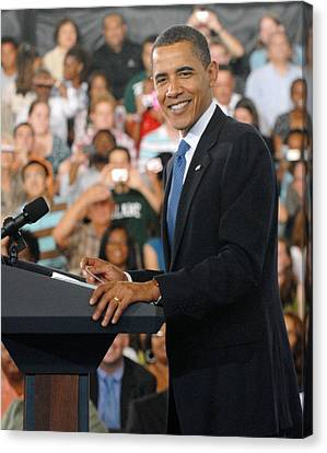 President Obama At The University Canvas Print