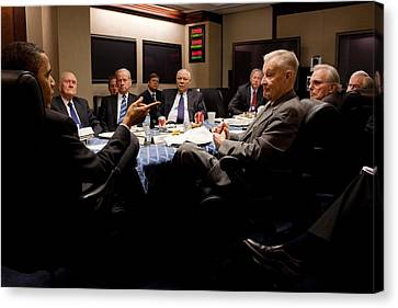 President Obama Attends A Meeting Canvas Print