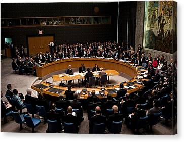 President Obama Chairs A Un Security Canvas Print by Everett