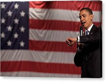President Obama Checks His Watch Canvas Print