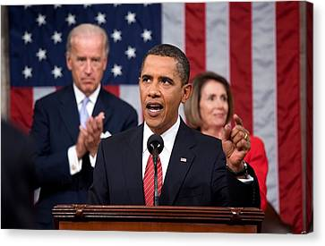 President Obama Delivers An Address Canvas Print