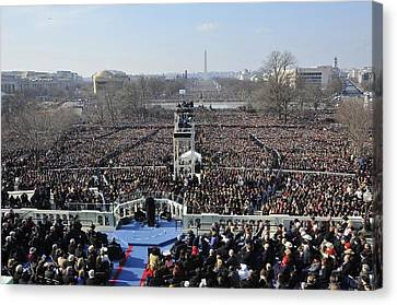 President Obama Delivers His Inaugural Canvas Print by Everett