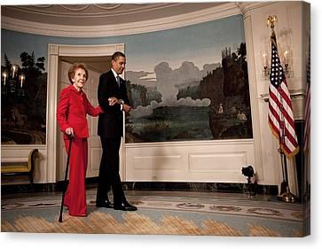 President Obama Escorts Former First Canvas Print