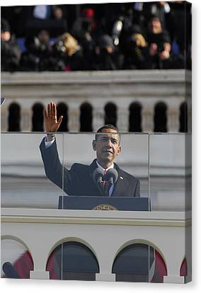 President Obama Gestures As He Delivers Canvas Print by Everett