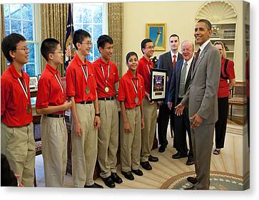 President Obama Greets Mathcounts Canvas Print by Everett