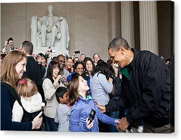President Obama Greets Tourists Canvas Print by Everett