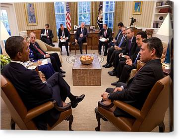 President Obama Holds Meeting Canvas Print by Everett
