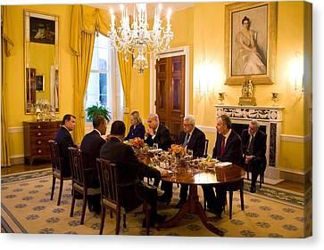 President Obama Hosts A Working Dinner Canvas Print